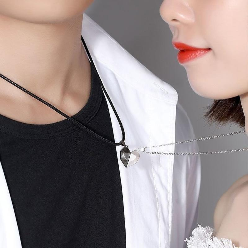 2Pcs Magnetic Couple Heart Necklace