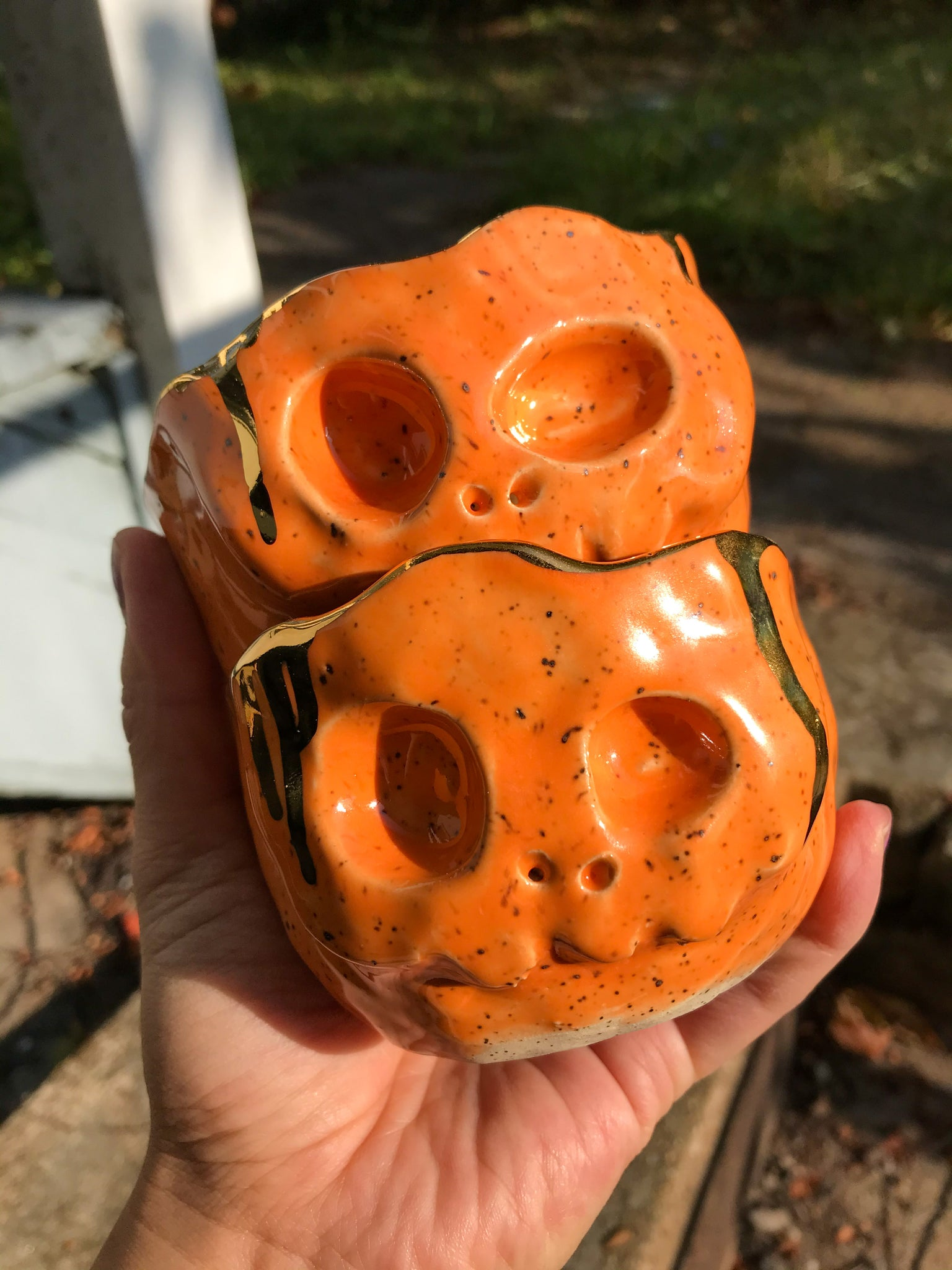 Pastel Skull Planter- Tangerine Orange