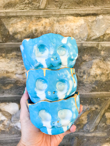Pastel Skull Planter- Crying Blue