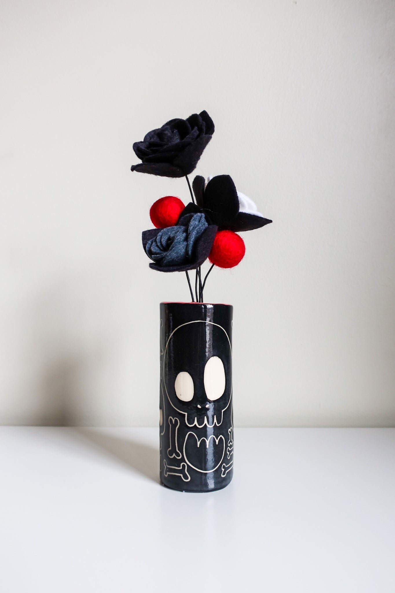 Skull and Bones Vase with Felt Bouquet