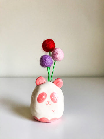 Panda Flower Bud Holder- Pink