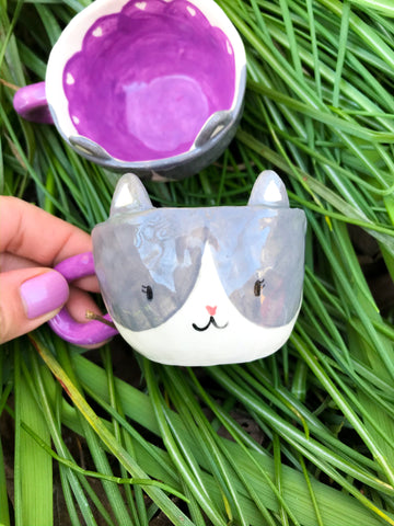 Espresso Cup Single- Grey Kitty