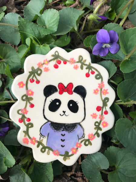 Miniature Animal Portrait Magnet- Josefina the Panda