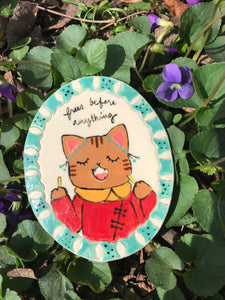 Miniature Animal Portrait Magnet- Mina the Striped Kitty