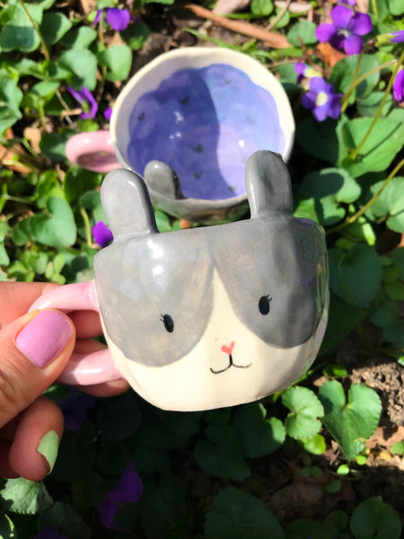 Espresso Cup Single- Grey Bunny