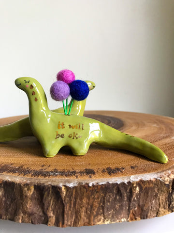Dinosaur Flower Bud Holder- Green Brontosaurus- It will Be OK