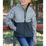 CINCH BOYS TEXTURED COLOR BLOCKED BONDED VEST (GRAY/CHARCOAL)