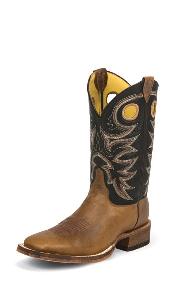 Justin Men's Bent Rail Cowboy Boots Tobacco Cowhide with Black Spiral Cowboy Tops BR740