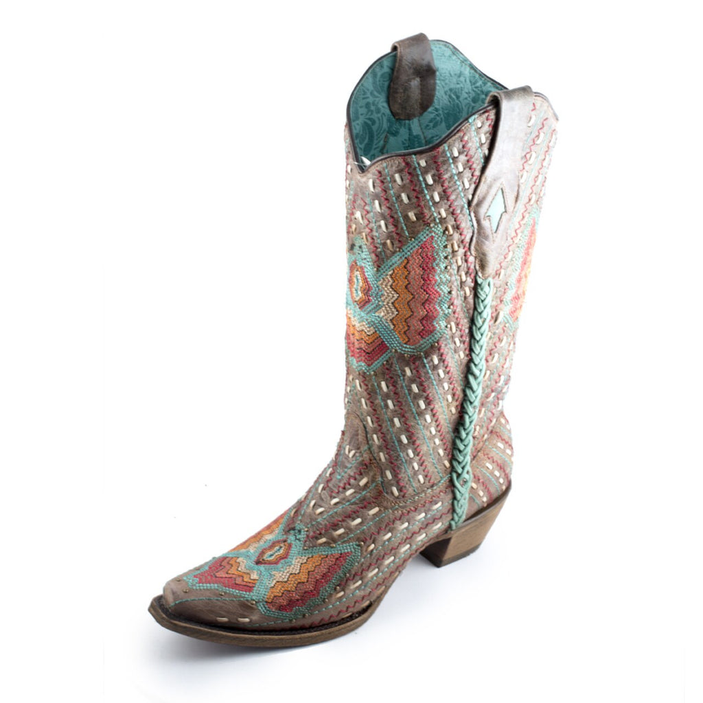Corral Women's Western Boot Turquoise/Brown Lamb C3603