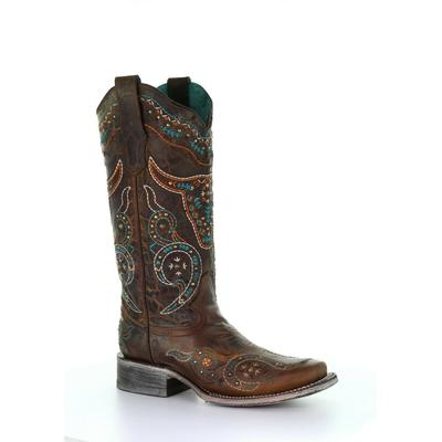 CORRAL WOMEN'S HONEY/MULTICOLOR EMBROIDERY & STUDS SQUARE TOE A3838