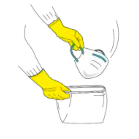 Place the washing barrier mask in a specific container