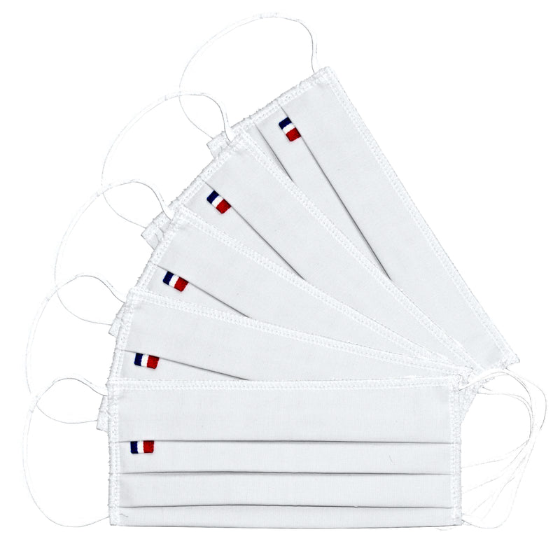5 Barrier masks 3 folds in white reusable washable fabric - tested 50 washes (4570796326970)