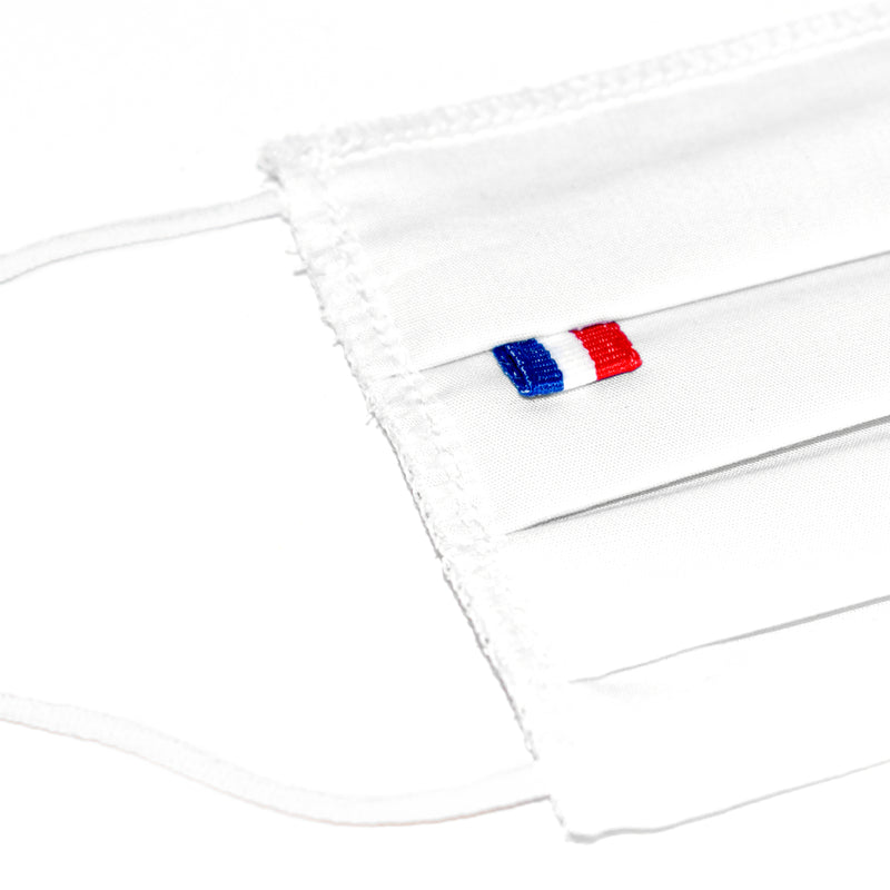 5 Barrier masks 3 folds in white reusable washable fabric - tested 10 washes (4474382614586) (4570796326970)