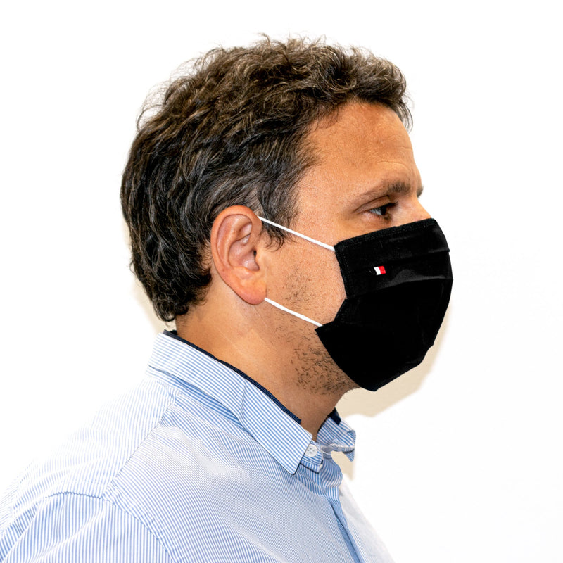 10 Barrier masks 3 folds in reusable washable fabric Marine White and Black - tested 10 washes (4474536624186) (4570795016250)