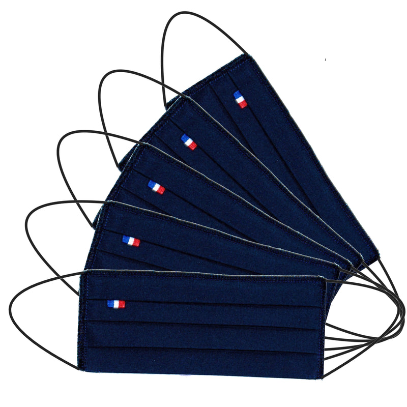 5 Barrier masks 3 folds washable fabric reusable navy blue - tested 50 washes (4570798981178)