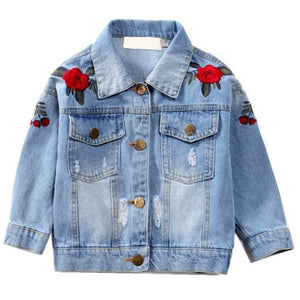Flower Embroidery Denim Jacket