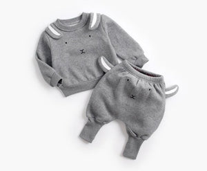 Winter Pullover Sweatshirt Top + Pant Clothes Set