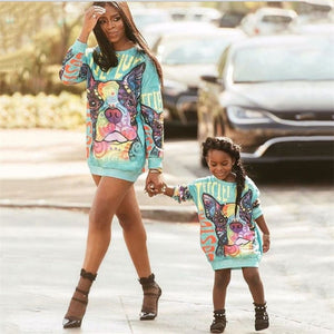 Mom and Daughter Graphic Print Dress