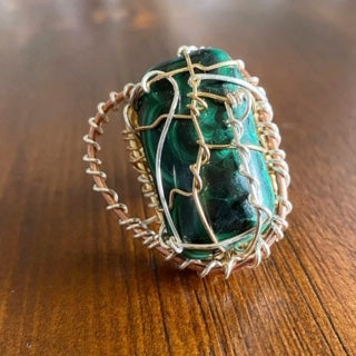 "BRONZE+COPPER+SILVER MALACHITE ""POWER"" RING"