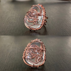 COPPER+CLEAR QUARTZ RING
