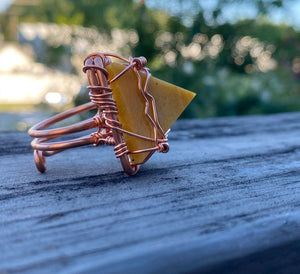 COPPER+YELLOW JASPER PYRAMID RING