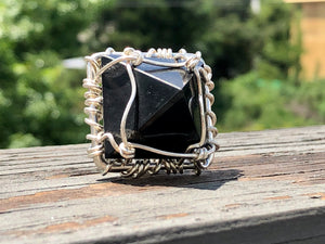 "SILVER+SHUNGITE ""FEARLESSNESS"" PYRAMID RING"