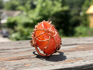 COPPER+CARNELIAN RING