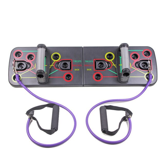 Push Up Rack Push-up Stand Board with Resistance Bands Gym Home Comprehensive Fitness Exercise Sport Body Building Training Tool