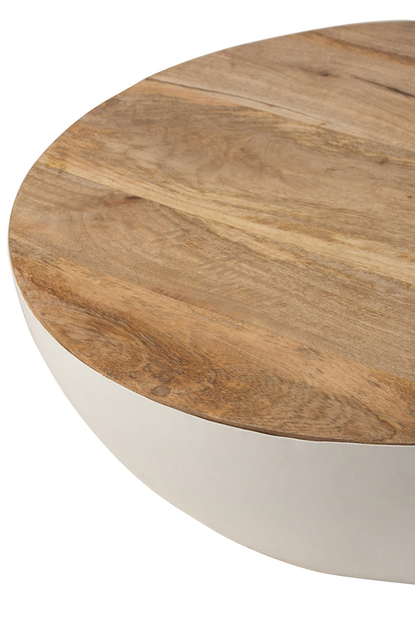 Table Ronde Bois De Manguier/Metal Naturel/Blanc S/L