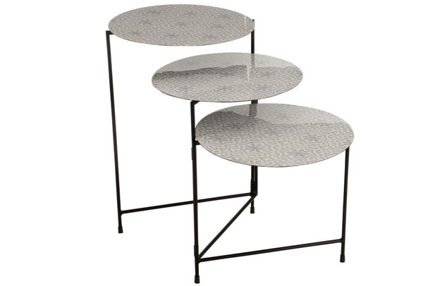 Table Ronde 3 Parties Metal Laque Blanc/Gris