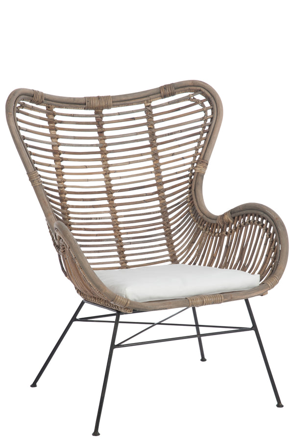 Chaise+Coussin Rotin/Metal Naturelle
