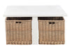 Table basse Carree + 4 Paniers Bois Blanc