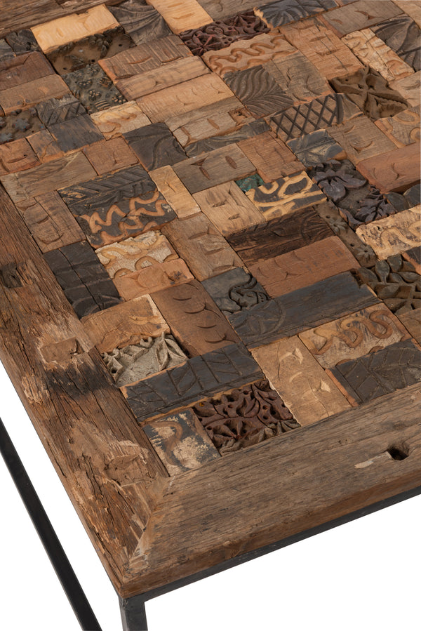 Table Mosaique Carree Bois Recycle/Metal Marron