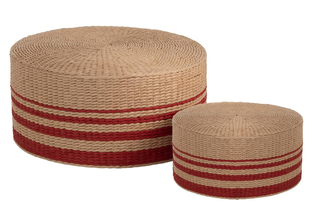 Set De 2 Poufs Rond Papier Rouge Naturel