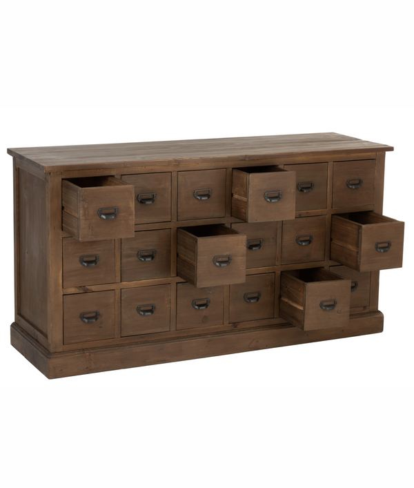 Commode 18 Tiroirs Bois Marron