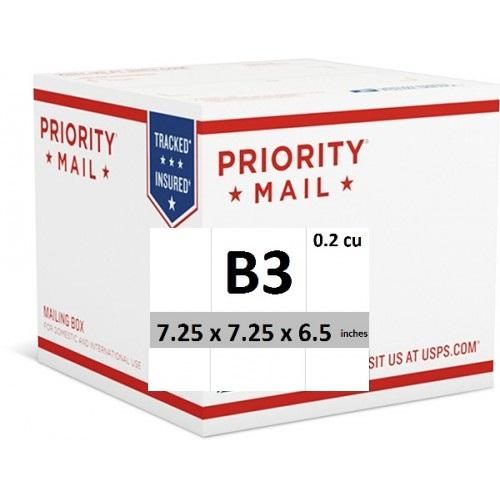 "Priority Mail Cubic Dimension Box (B3) 7.25"" x 7.25"" x 6.5"" (Top Loaded) (25 Pcs)"