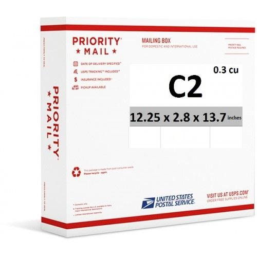 "Priority Mail Cubic Dimension Box (C2) 12.25"" x 2.8"" x 13.7"" (Side Loaded) (25 Pcs)"