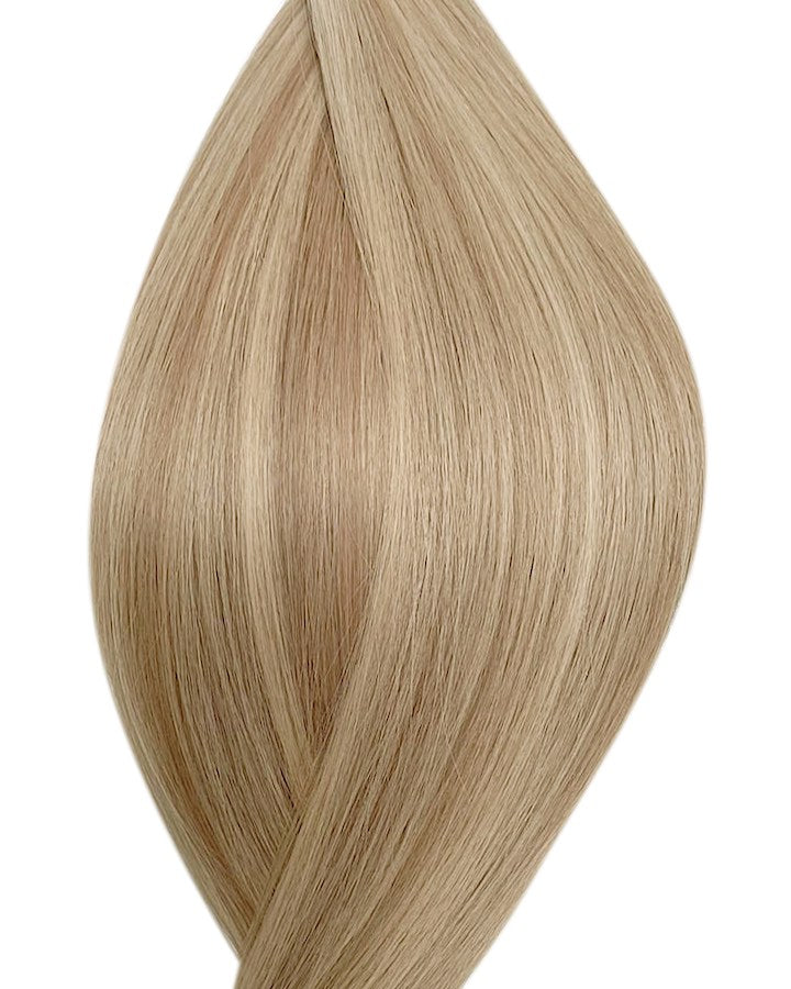"Seamless clip in hair extensions UK available in #P18/22 dark ash blonde light ash blonde Malibu sunset 18"" and 20"""