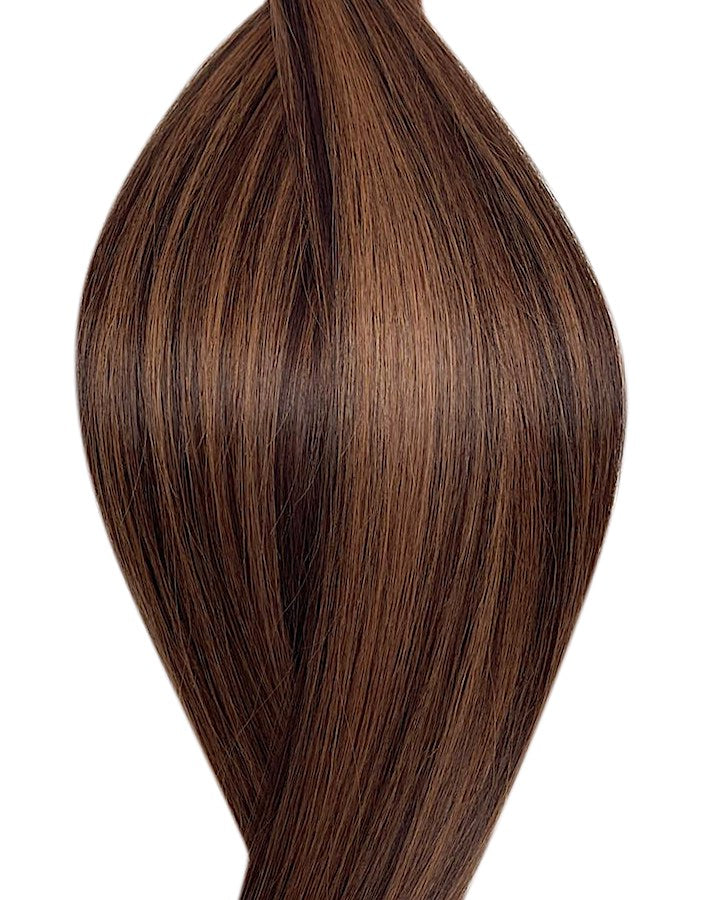 "Seamless clip in hair extensions UK available in #P2/6 dark brown light chestnut brown mix Marrakech heat 18"" and 20"""