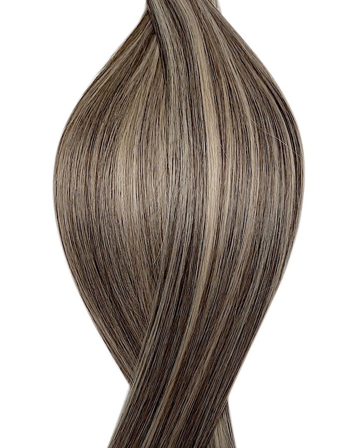 "Seamless clip in hair extensions UK available in #P2/60B dark brown platinum ash blonde mix Toronto promise 18"" and 20"""