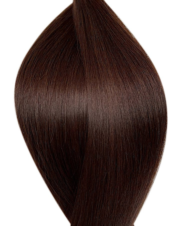 "Seamless clip in hair extensions UK available in #2 dark brown pure cocoa 18"" and 20"""