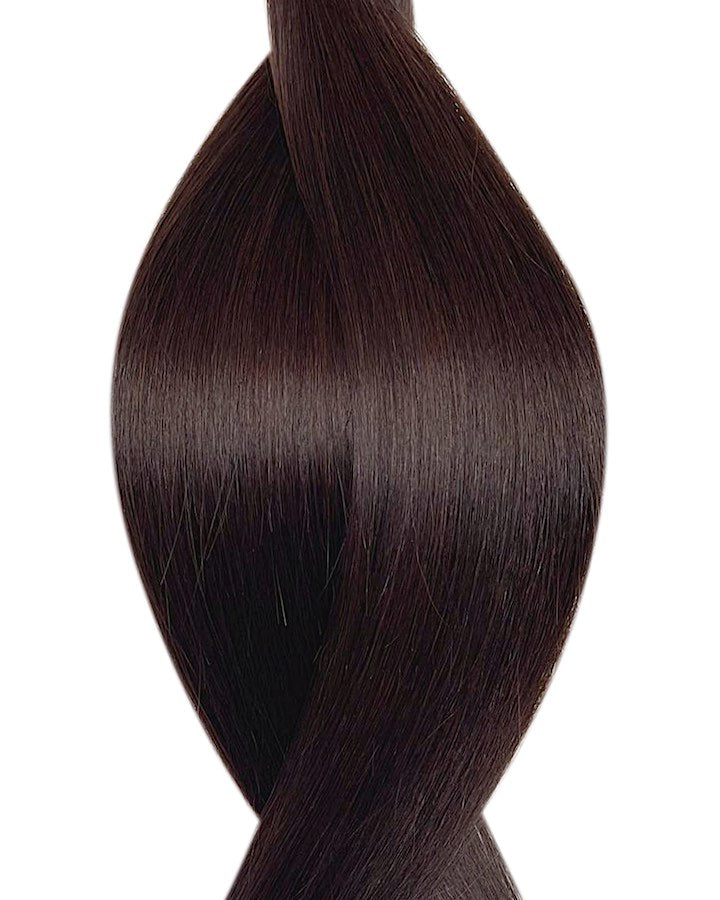"Seamless clip in hair extensions UK available in #1C darkest brown chard earth 18"" and 20"""