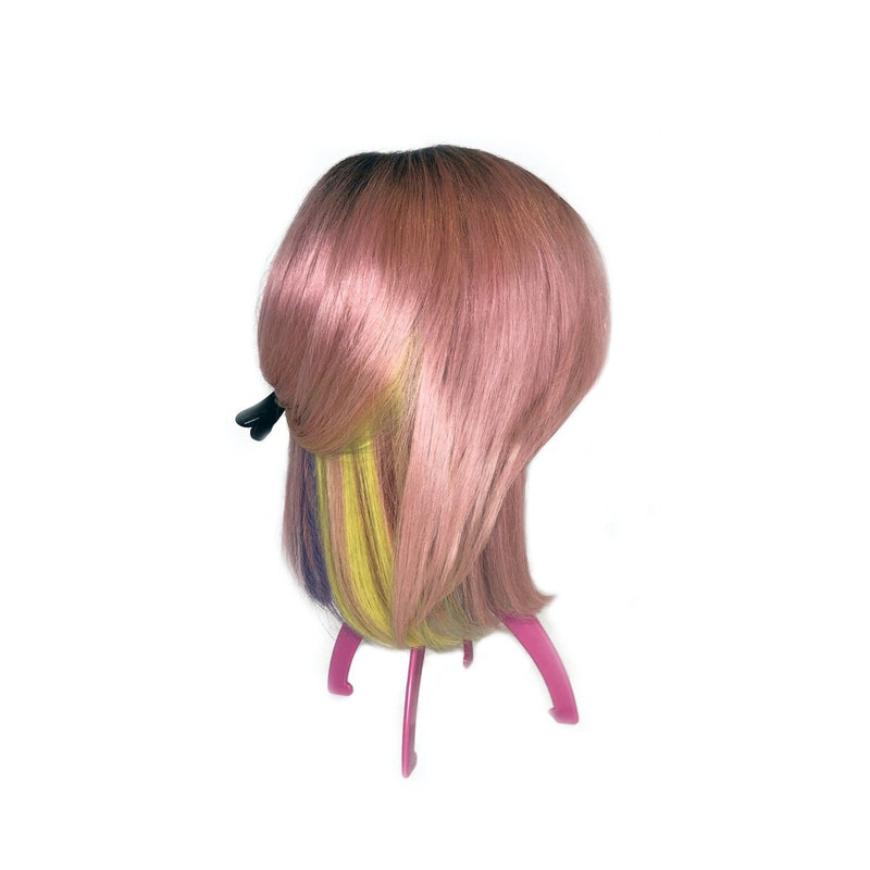 Viola hair extensions pink rainbow wig