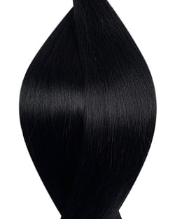 "Seamless clip in hair extensions UK available in #1 jet black 18"" and 20"""