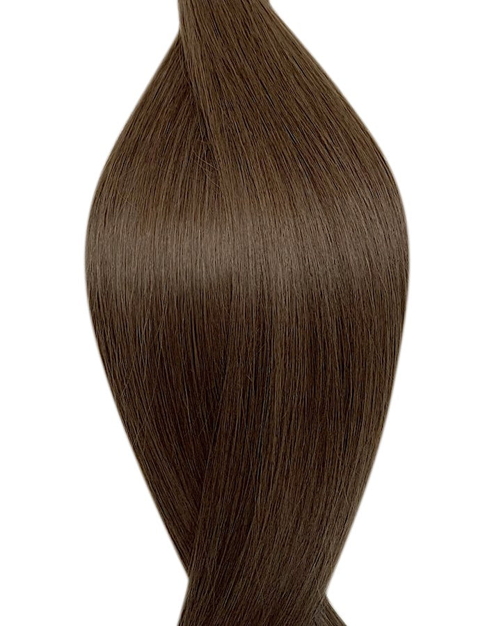 "Seamless clip in hair extensions UK available in #7 light ash brown frosted chocolate 18"" and 20"""