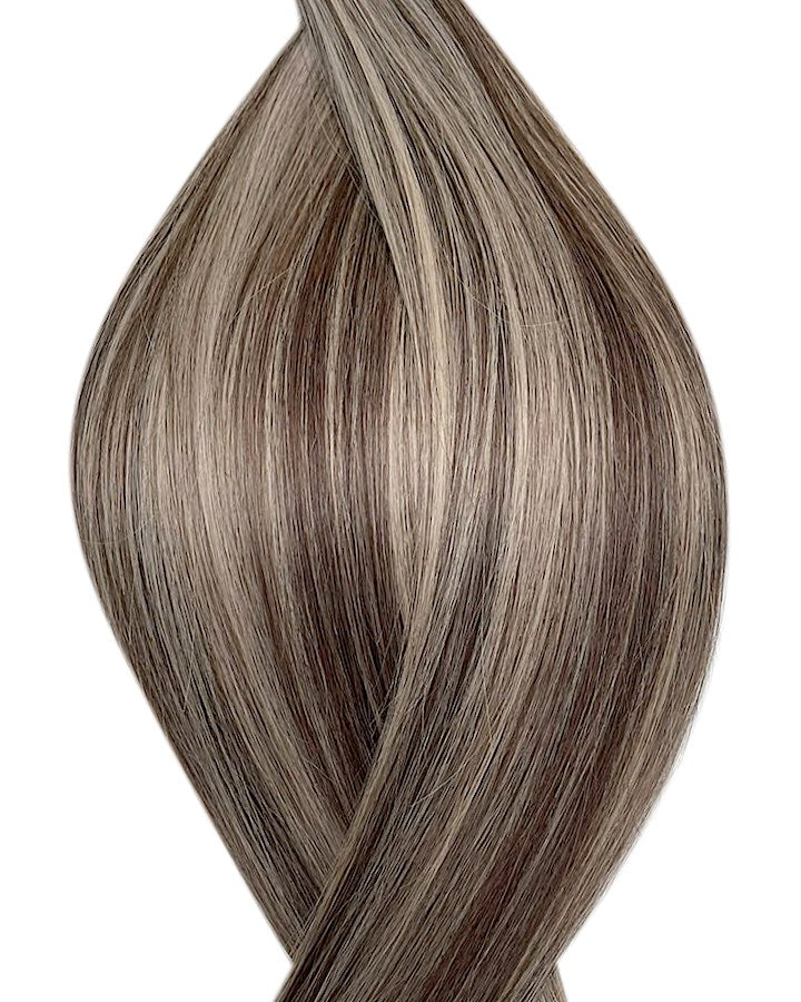 "Seamless clip in hair extensions UK available in #P7/16 light ash brown medium ash blonde Tokyo timeless 18"" and 20"""
