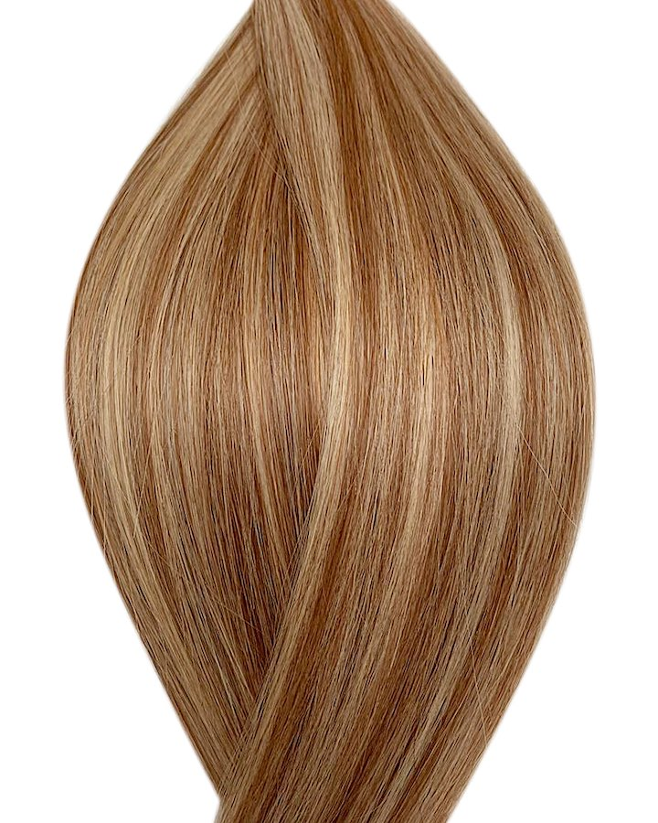 "Seamless clip in hair extensions UK available in #P6/613 light chestnut brown bleach blonde mix Vienna velour 18"" and 20"""