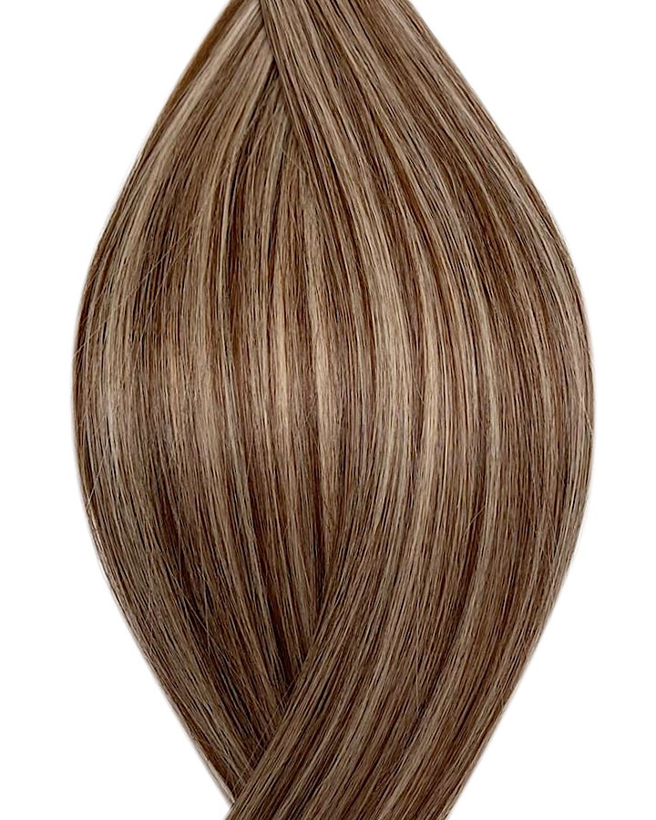 "Seamless clip in hair extensions UK available in #P4/22 medium brown light ash blonde mix manila idol 18"" and 20"""