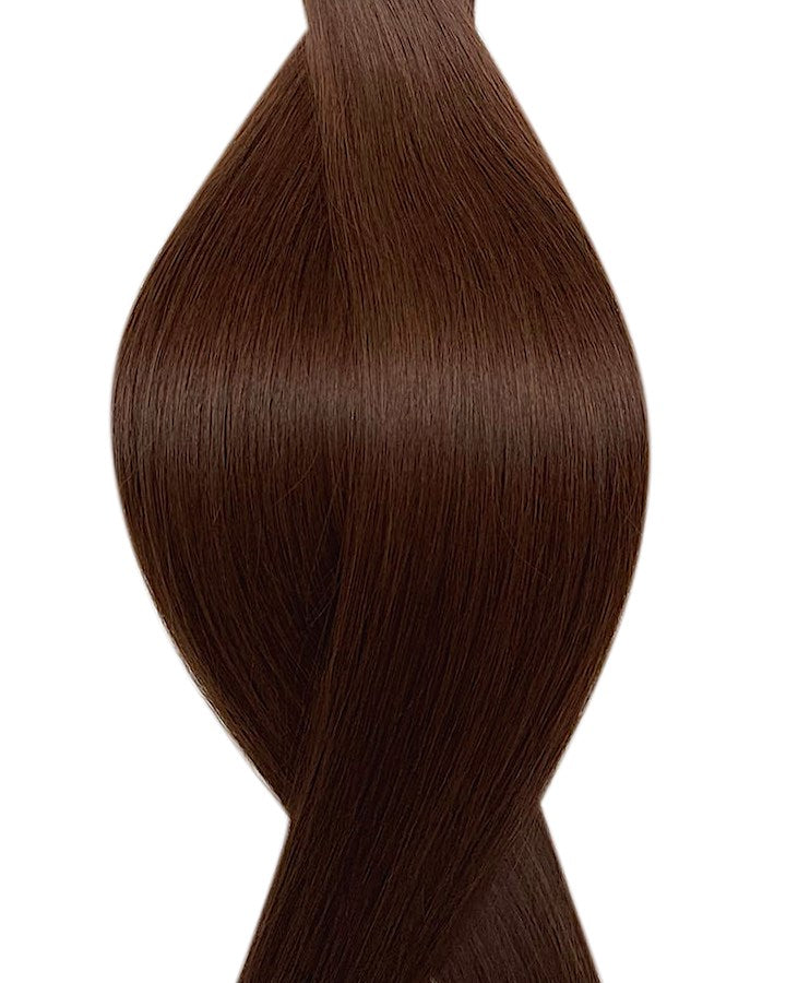 "Seamless clip in hair extensions UK available in #4 medium brown milk chocolate 18"" and 20"""