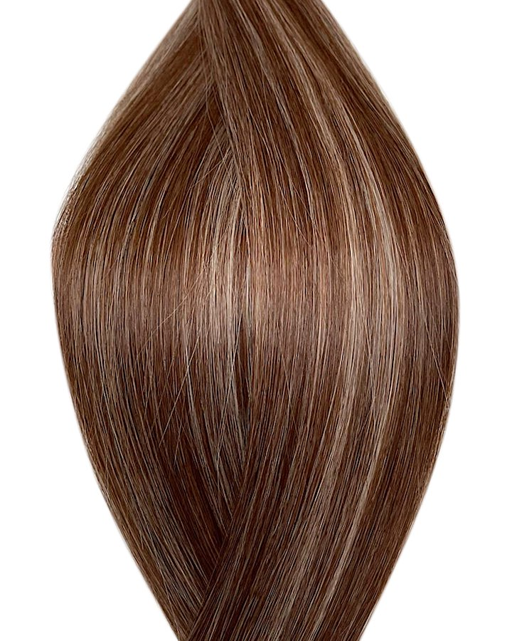 "Seamless clip in hair extensions UK available in #P4/60B medium brown platinum ash blonde Lisbon lush 18"" and 20"""